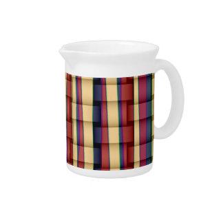 Retro colorful stripes art graphic design 2 beverage pitcher