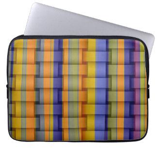 Retro colorful stripes art graphic design laptop sleeve