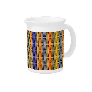 Retro colorful stripes wicker graphic design drink pitcher