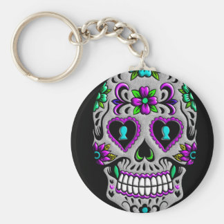 Retro Colorful Sugar Skull Keychain