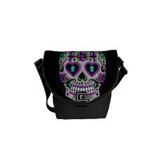 Retro Colorful Sugar Skull Messenger Bag at Zazzle
