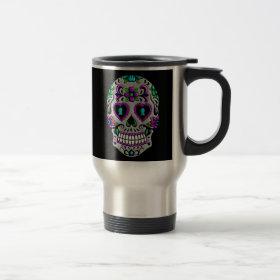 Retro Colorful Sugar Skull 15 Oz Stainless Steel Travel Mug
