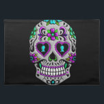 """Retro Colorful Sugar Skull Placemat<br><div class=""""desc"""">This is a gorgeous Day of the Dead Sugar Skull with vivid colors.</div>"""