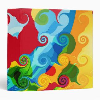 Retro Colorful Swirl Abstract Art Binders