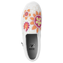 Retro colorful wall flower print shoes
