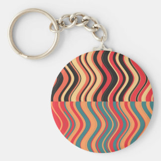 Retro Colorful Waves Abstract Art Keychain