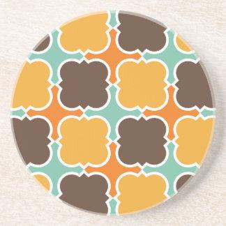 Retro Colors Barbed Quatrefoil Pattern Drink Coaster