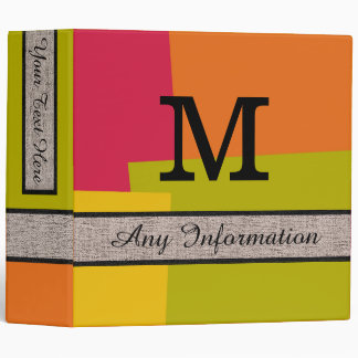 Retro Colors Modern Monogram #2 3 Ring Binder