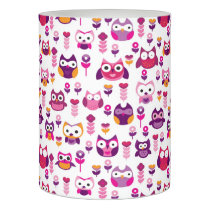 retro colourful owl bird pattern flameless candle