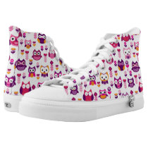 retro colourful owl bird pattern High-Top sneakers