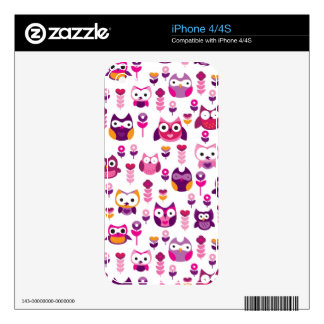 retro colourful owl bird pattern iPhone 4S decal