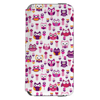 retro colourful owl bird pattern iPhone 6/6s wallet case