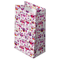 retro colourful owl bird pattern small gift bag