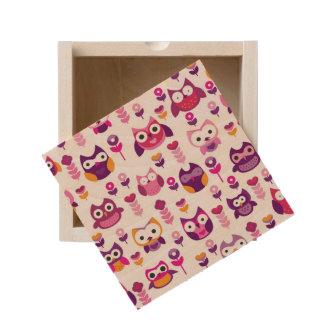 retro colourful owl bird pattern wooden keepsake box