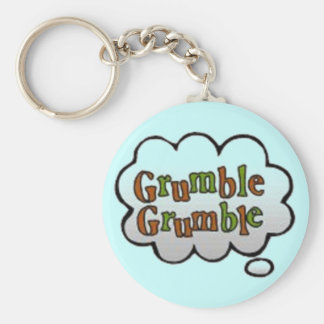 """Retro Comic Book Call Out """"Grumble Grumble"""" Keychains"""