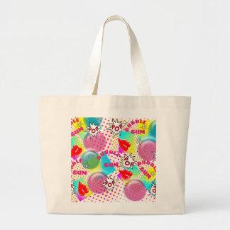 Retro Comic Book Style Bubble Gum Design Large Tote Bag