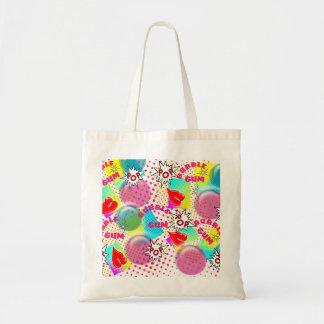 Retro Comic Book Style Bubble Gum Design Tote Bag
