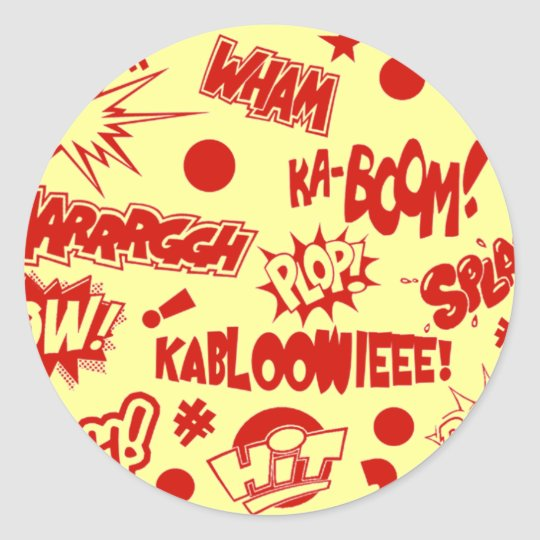 Retro Comic Call-Outs Classic Round Sticker