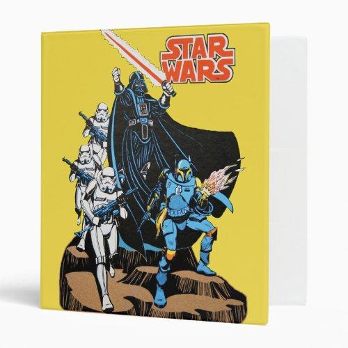 Retro Comic Darth Vader Star Wars Illustration 3 Ring Binder