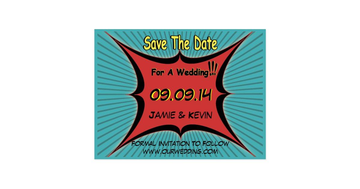 Retro Comic Pop Art Wedding Save The Date Postcard | Zazzle.com