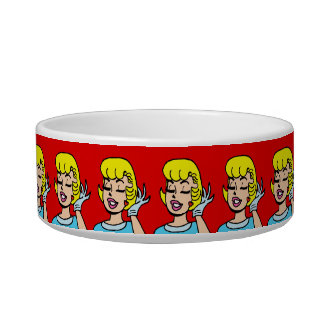 Retro Comic Strip Beauty Dog Bowl