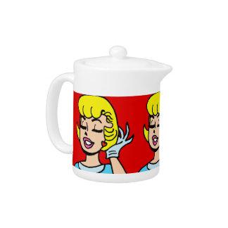 Retro Comic Strip Beauty Teapot