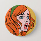 Retro comic style woman in a panic button