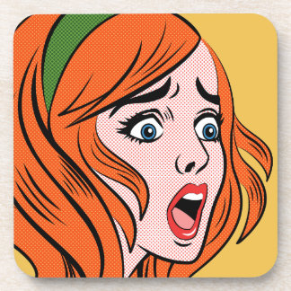 Retro comic style woman in a panic beverage coasters