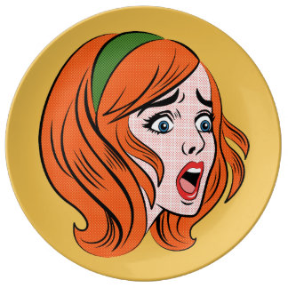 Retro comic style woman in a panic dinner plate