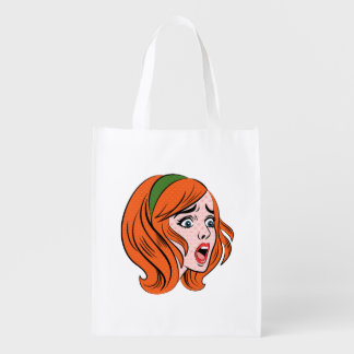 Retro comic style woman in a panic grocery bag