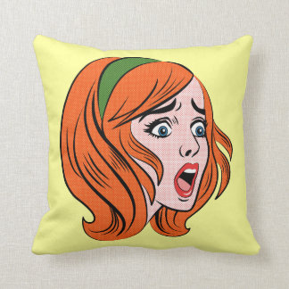 Retro comic style woman in a panic throw pillow