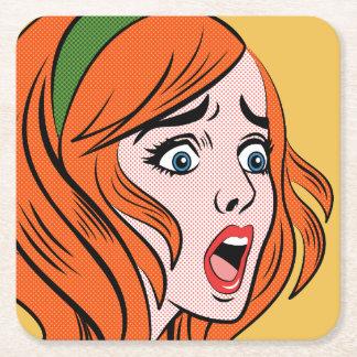 Retro comic style woman in a panic square paper coaster