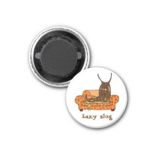 Retro Comic Toon Lazy Slug 1 Inch Round Magnet
