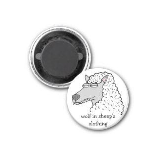 "Retro Comic Toon ""Wolf in Sheep's Clothing"" Fridge Magnets"