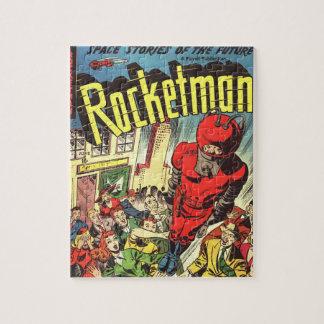 Retro comics - Rocketman Jigsaw Puzzle
