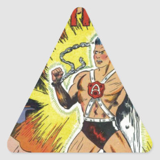 Retro comics triangle sticker