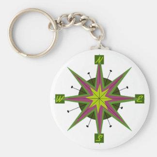 Retro Compass Design Key Chain Basic Round Button Keychain