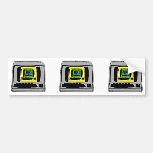 """""""Retro Computer Car Bumper Sticker"""