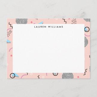 Retro Confetti Memphis Pattern Pink Flat Notecard