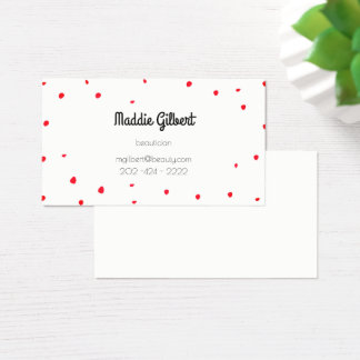 retro confetti - red petals business card