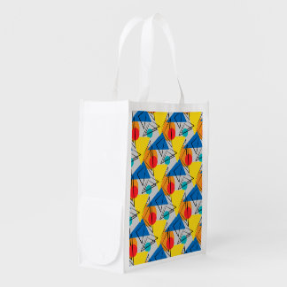 Retro Contemporary Geometric Colorful Pattern Grocery Bag