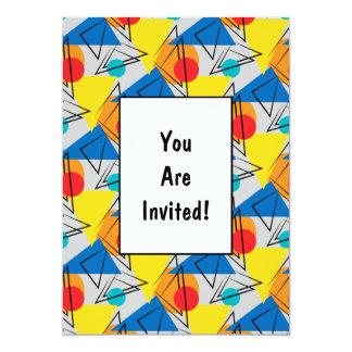 Retro Contemporary Geometric Colorful Pattern Personalized Invites