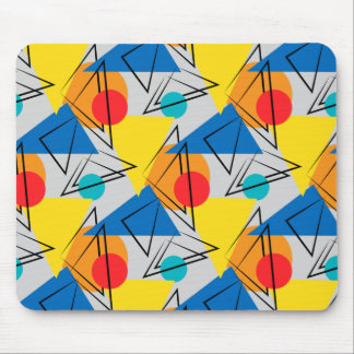 Retro Contemporary Geometric Colorful Pattern Mouse Pad