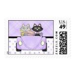 Retro Convertible Shopping Cat - Lavendar Postage Stamp