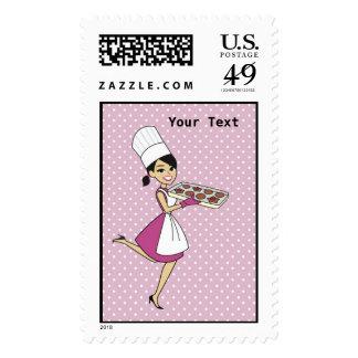 Retro Cook Postage Stamp