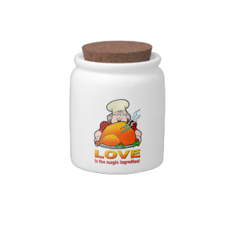 Retro Cooking Design.Love Is The Magic Ingredient. Candy Jar
