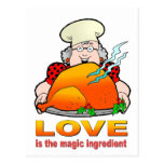 Retro Cooking Design.Love Is The Magic Ingredient. Postcard