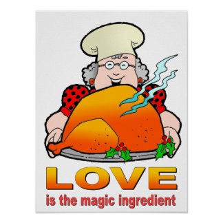 Retro Cooking Design Love Is The Magic Ingredient Poster