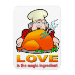 Retro Cooking Design.Love Is The Magic Ingredient. Rectangle Magnets