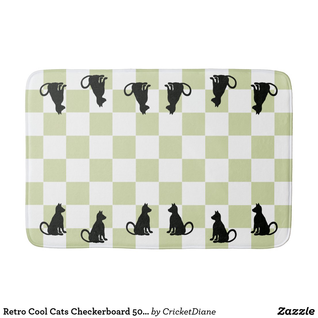 Retro Cool Cats Checkerboard 50s Chic Bath Mat